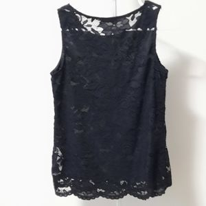 BOGO Free Sleeveless black lace shell top with sheer back